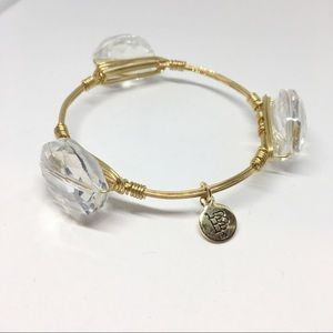 Bourbon & Bowties Crystal Gold Tone Wire Bracelet